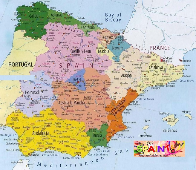 Detailed map of Spain Cities and Regions